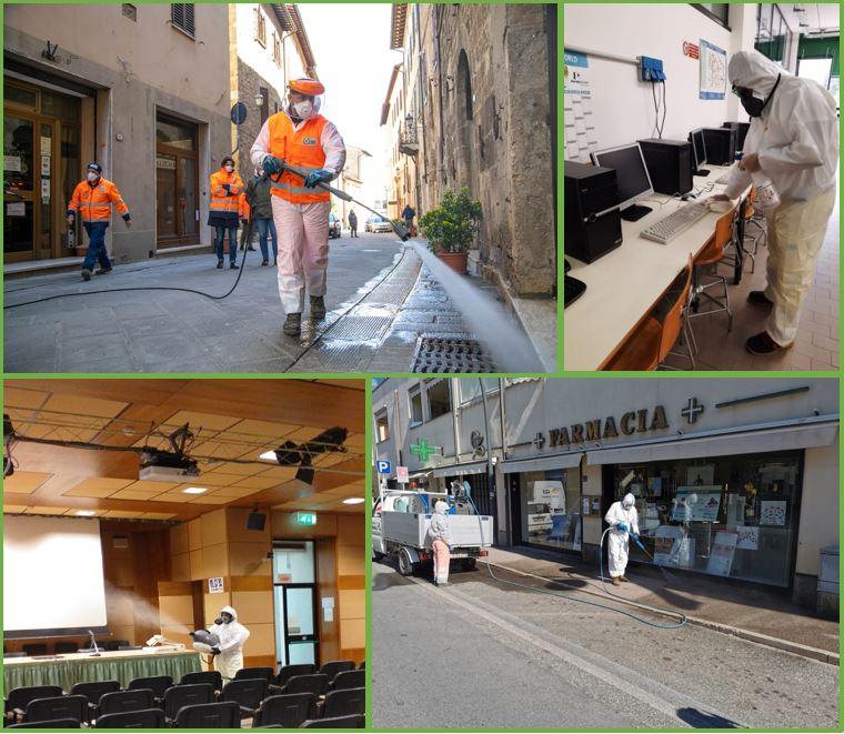 Sanificazione e igienizzazione di grandi edifici, piazze, strade, industrie, scuole